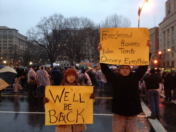 """Foreclosed Houses. Stolen Tents. Occupy Everything. We'll be back."""