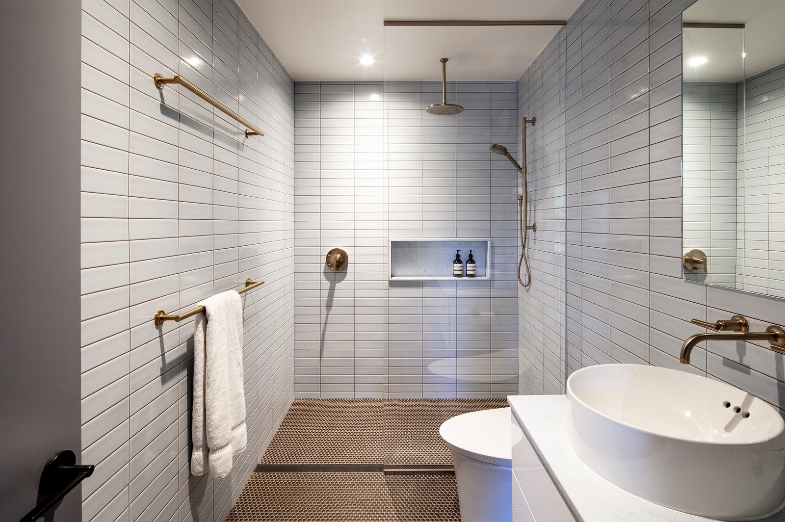 Bath, Ceramic Tile, Stone, Ceramic Tile, Recessed, Open, Wall, Vessel, and One Piece SECOND FLOOR - MASTER BATHROOM Photo © Ashok Sinha  Bath Stone Recessed One Piece Photos from Bed-Stuy Townhouse