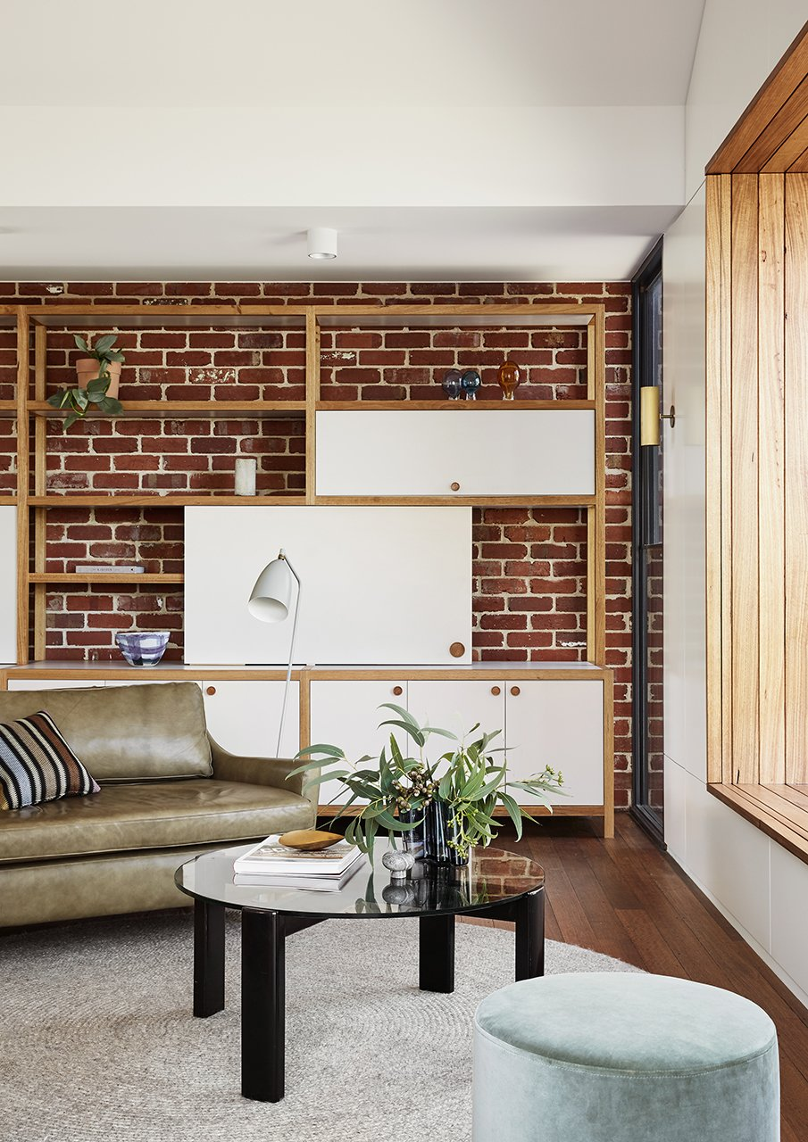 Living, Lamps, Shelves, Sofa, Ceiling, Bench, Media Cabinet, Coffee Tables, Storage, Wall, and Medium Hardwood Living Area  Living Bench Medium Hardwood Wall Photos from Coburg House