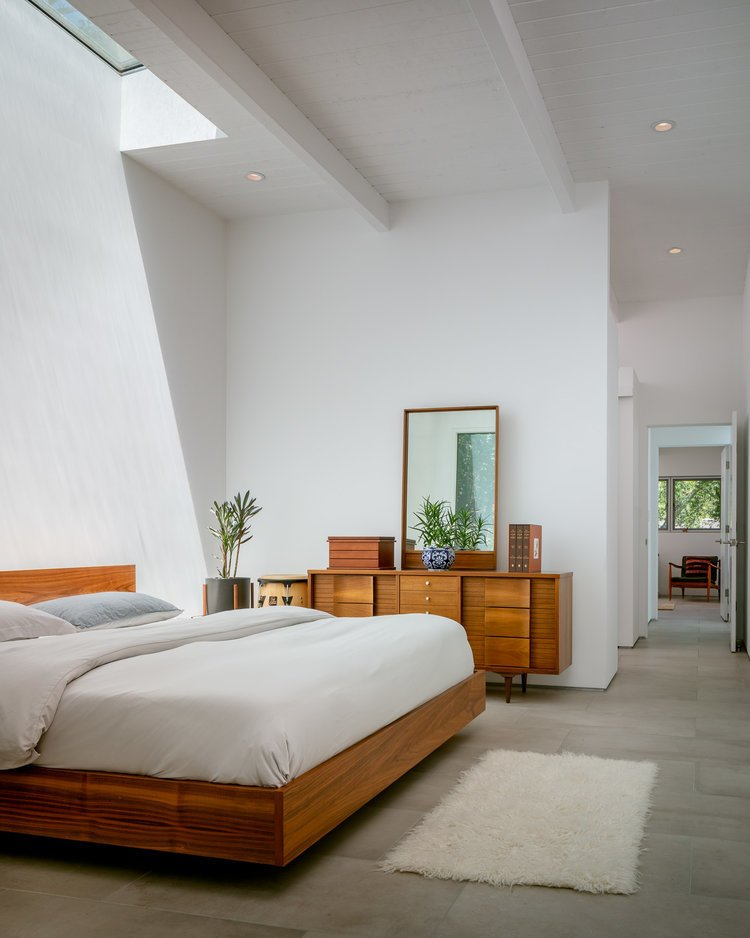 Bedroom, Ceiling, Dresser, Bed, and Porcelain Tile Master bedroom  Bedroom Bed Porcelain Tile Photos from The Leichler