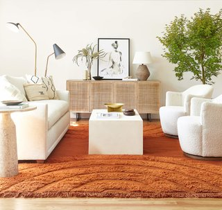 All six patterns are available as rugs, lumbar pillows, and throw pillows.