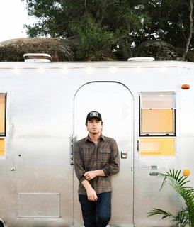Musician and interior designer August Hausman lives in a restored 1968 Airstream Land Yacht that once belonged to his father.