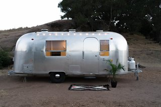The Airstream Haus, parked in Ojai, California. August says that when your dwelling is small, it's important to make the most of outdoor space.