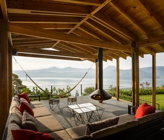 A sheltered open-air lounge provides a prime spot to take in the view.