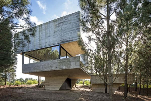 The exposed concrete of Casa Arboles is a neutral shade of gray. The architect hopes the material will weather over time to blend in with the landscape.