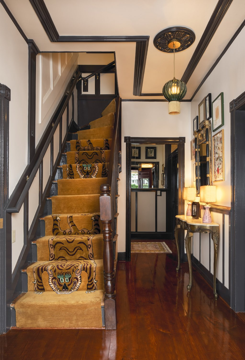 Life House Nantucket staircase with tiger runner