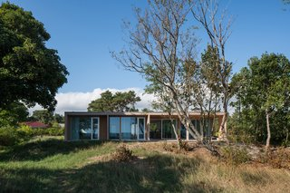 """Sundberg designed the home as a simple box so it would """"subordinate itself"""" to the sandy landscape of birch trees and sea grasses."""