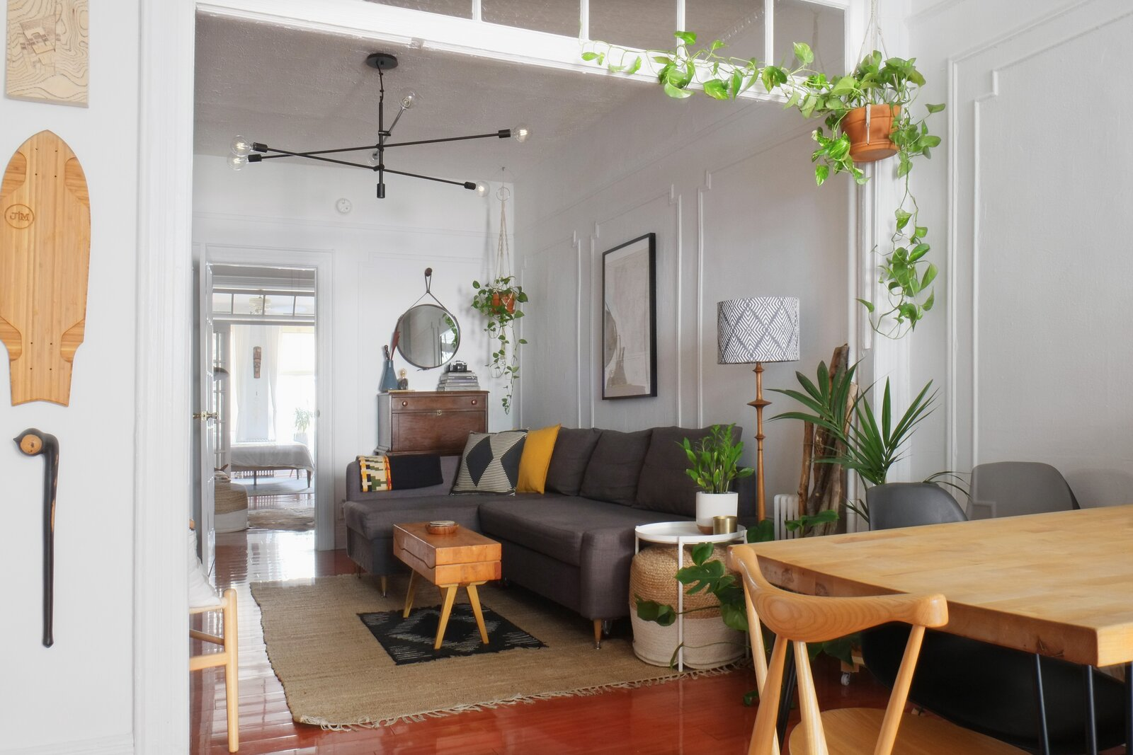Queens rental apartment by Jordan Meerdink and Shalini Amin kitchen table and living room