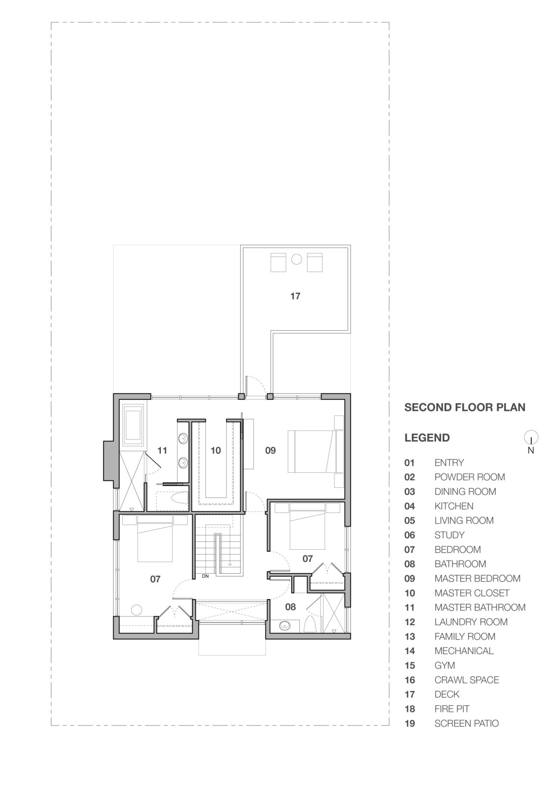 Second floor plan of Stephenson House by Assembledge+ and Fowles Studio