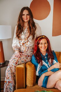 Friends and creative collaborators designer Claire Thomas and comedian Mamrie Hart.