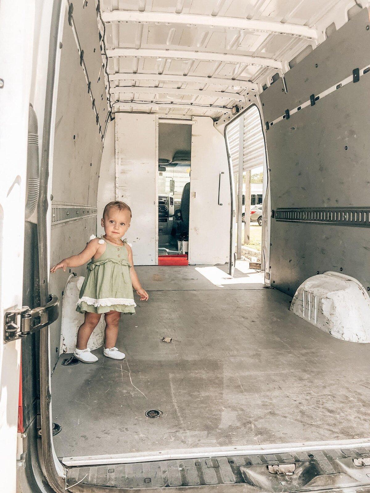 Vanessa the Van gutted interior with Luna