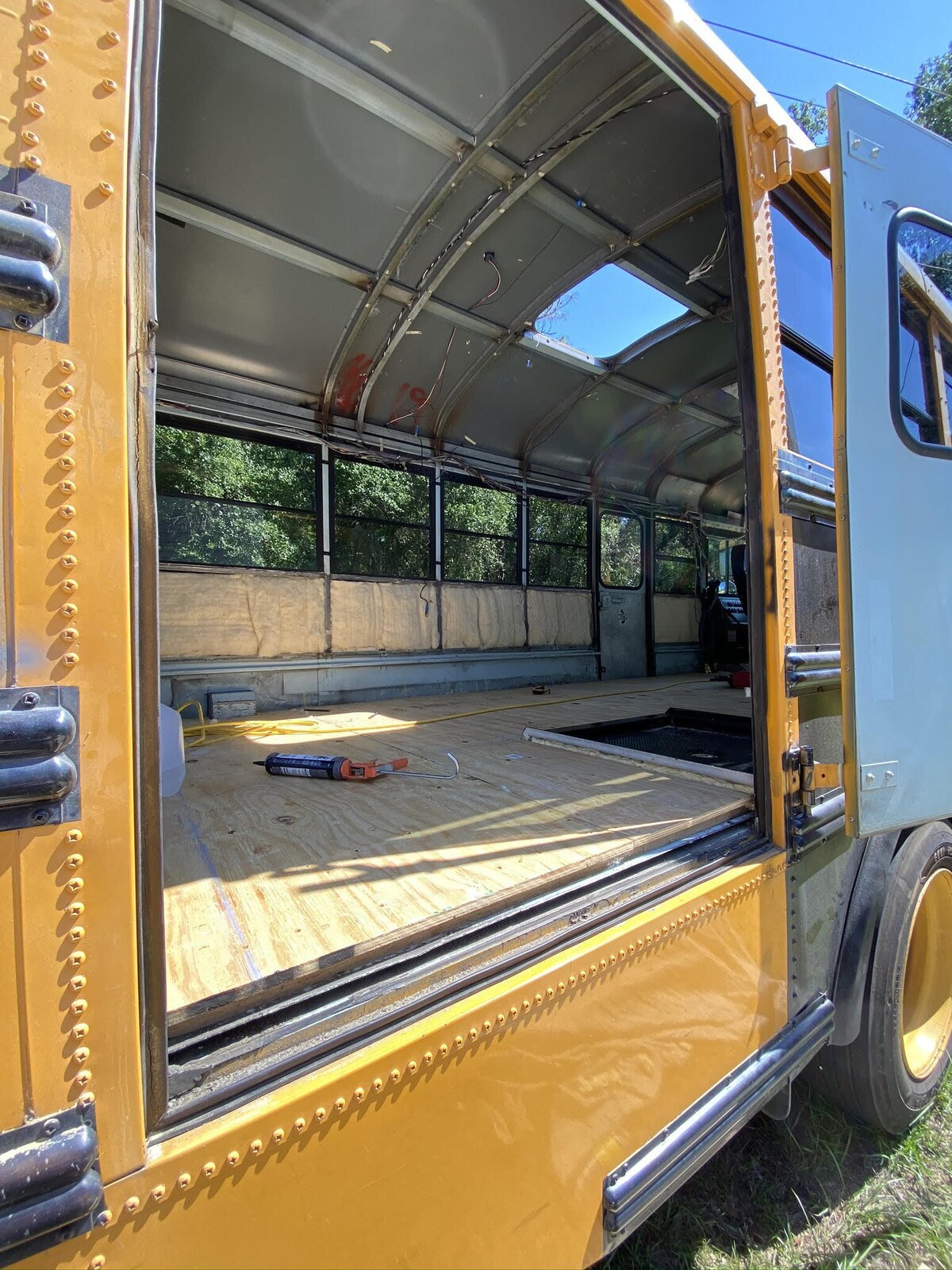 Buster the Bus plywood subfloor