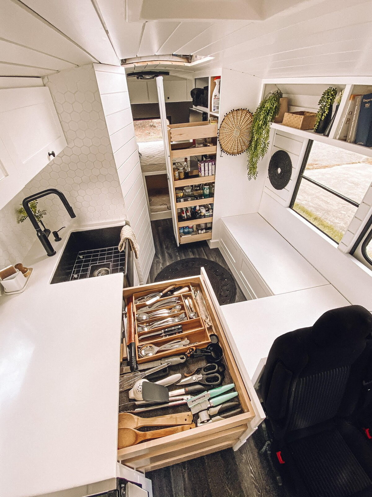 Buster the Bus pantry and kitchen drawers
