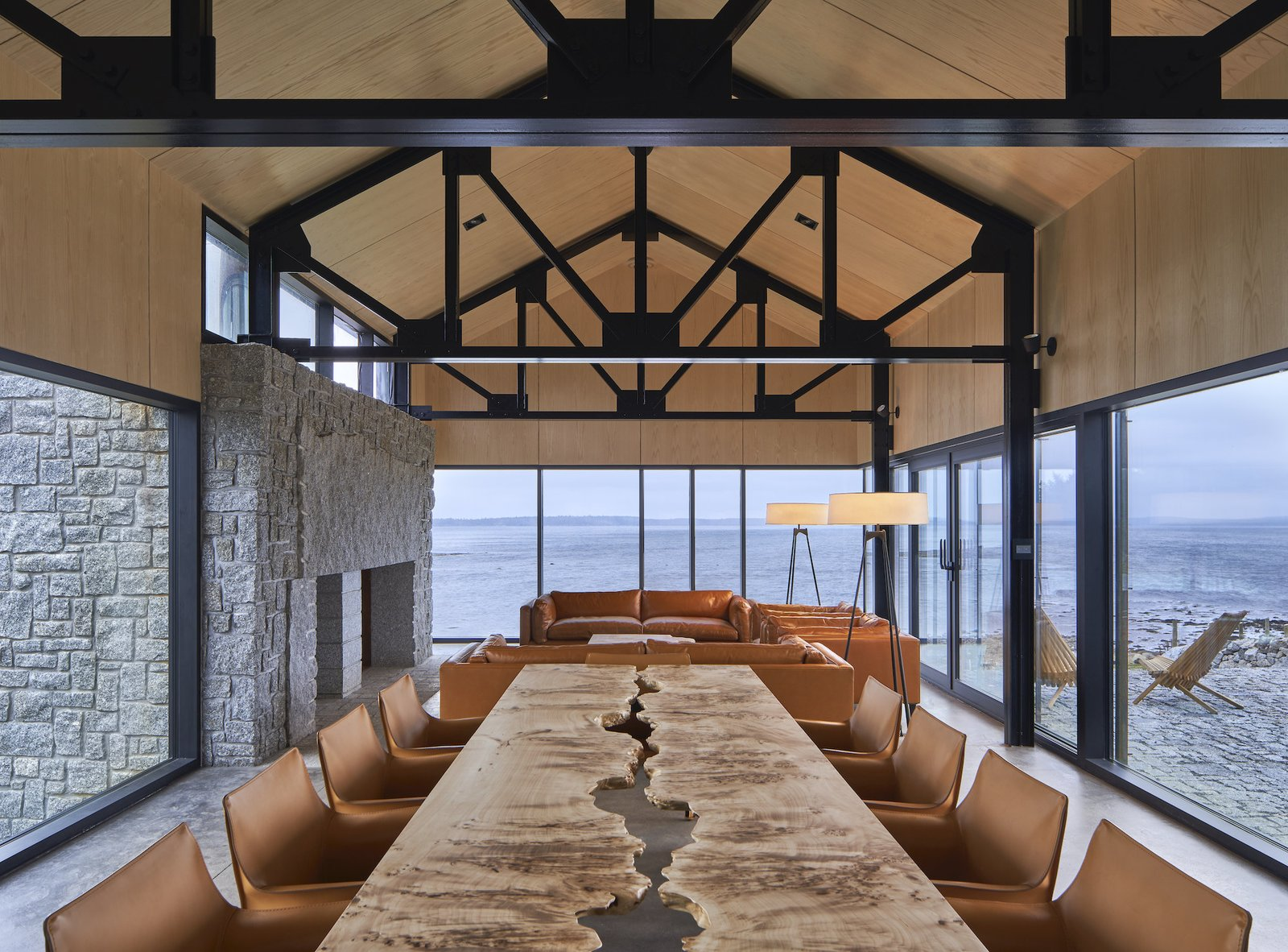 The living and dining room at Smith House by MacKay-Lyons Sweetapple Architects.