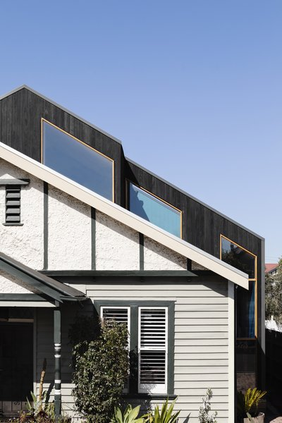 The addition sits over the existing weatherboard cottage. One of the biggest challenges was getting the new roofline to run parallel with the old, as the home had shifted and settled over time.