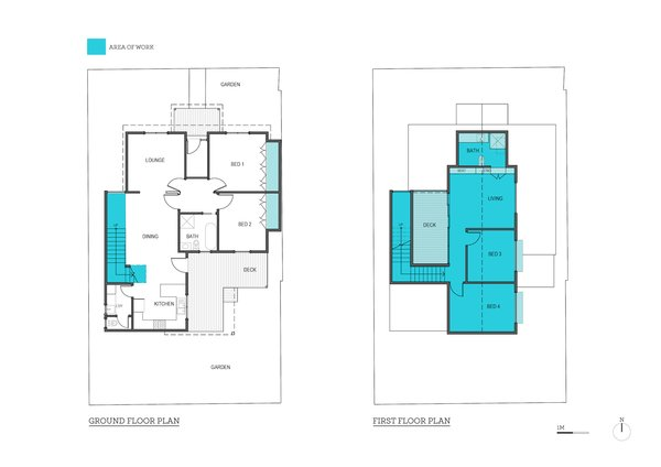 Ground floor plan and first floor plan of Blue House Yarraville by Circle Studio Architects. The area of work has been marked in blue.