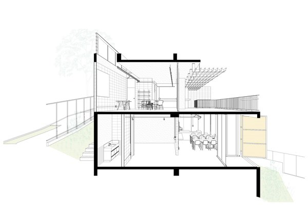 3D section of Casa Comiteco by Marcos Franchini and Nattalia Bom Conselho showing how the residential space sits on top of the commercial space.