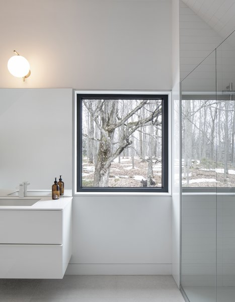 A window in the bathroom frames the surrounding forest. These smaller windows have been designed to be read as two-dimensional artworks that are part of the wall.