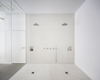The open shower zone was designed to feel like the shower in a luxury gym or wellness center.