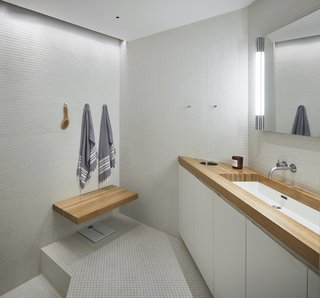 The master bathroom retains its original configuration, including a sunken shower.