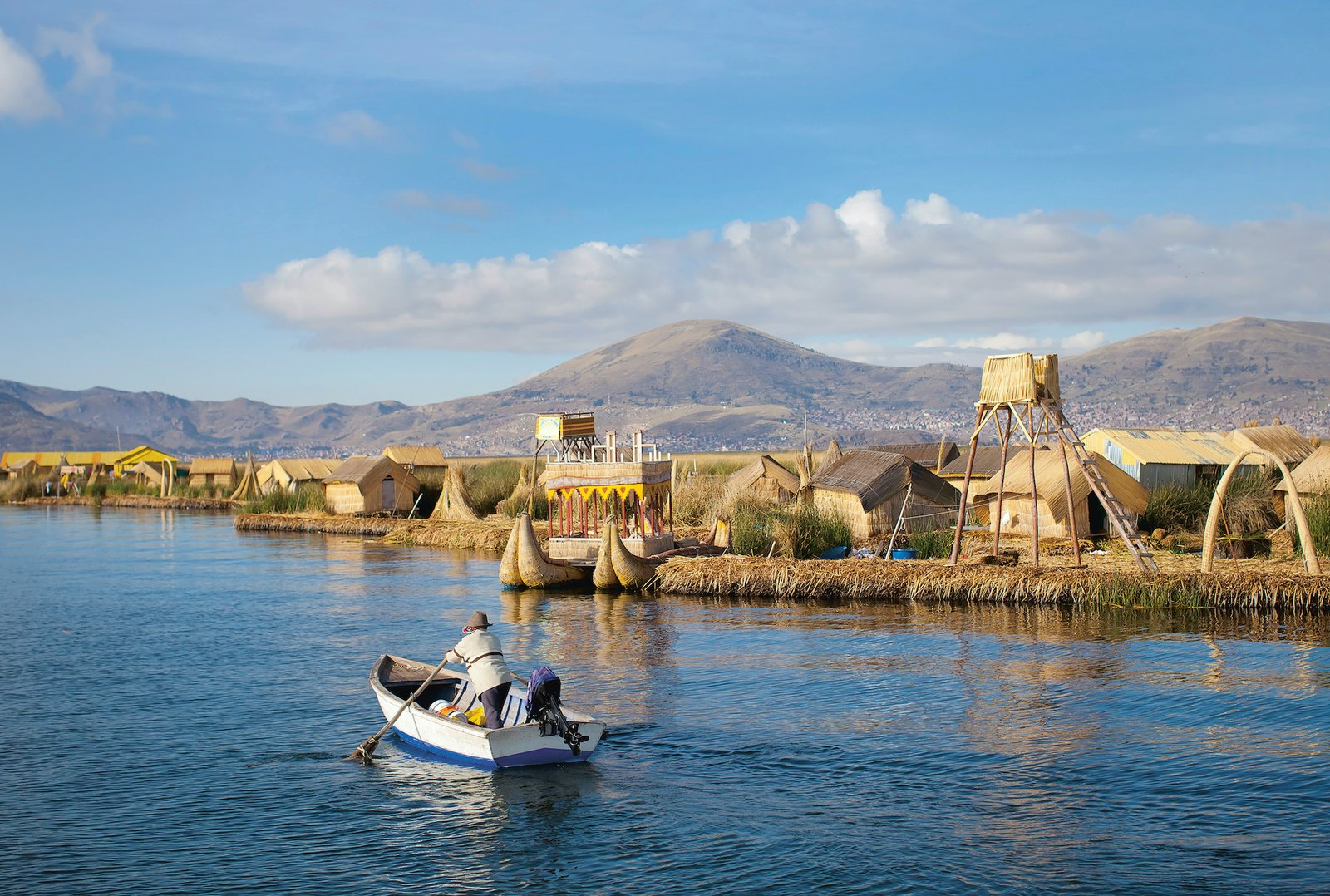 2,629 people live in a group on 91 floating islands, and individual islands are inhabited by up to 12 families. While they live isolated on Lake Titicaca, the Uros islands are located only three miles from the small port city of Puno in Peru.  Photo 8 of 8 in We May Already Have the Technology to Survive a Climate Crisis—We've Just Been Ignoring It