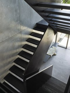 The stair features a steel balustrade and floating timber treads.