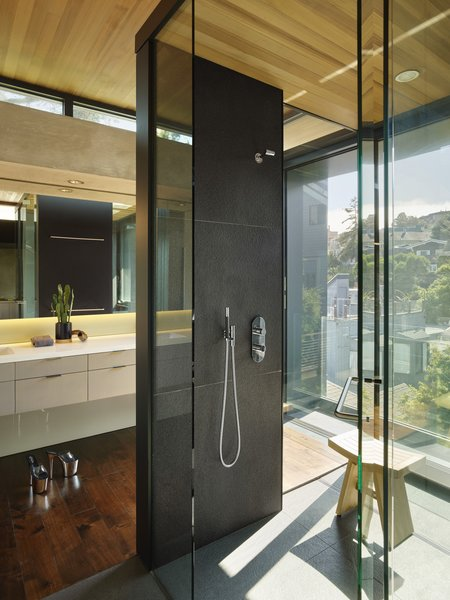 "The master bathroom also features large areas of glazing. ""The clients are not tremendously modest,"" says Aidlin. ""They strove to have a spectacular view of Sutro Tower from their master bathroom."""