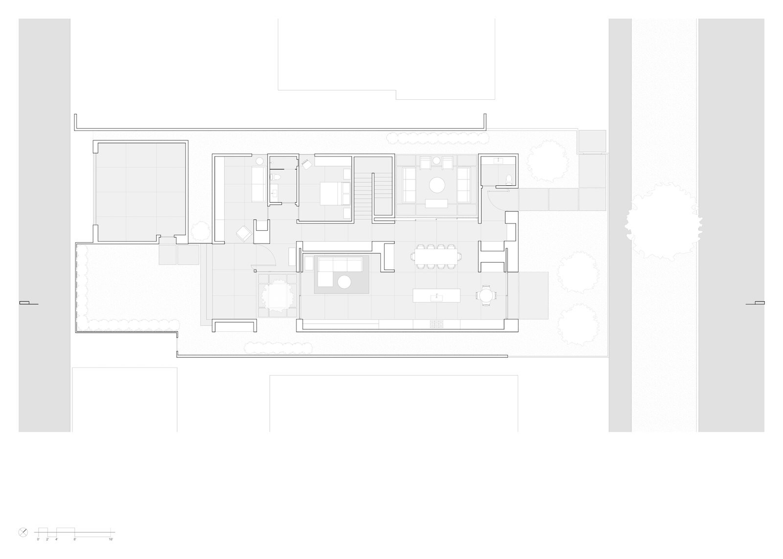 Level-one floor plan of Culver City Case Study House by Woods + Dangaran