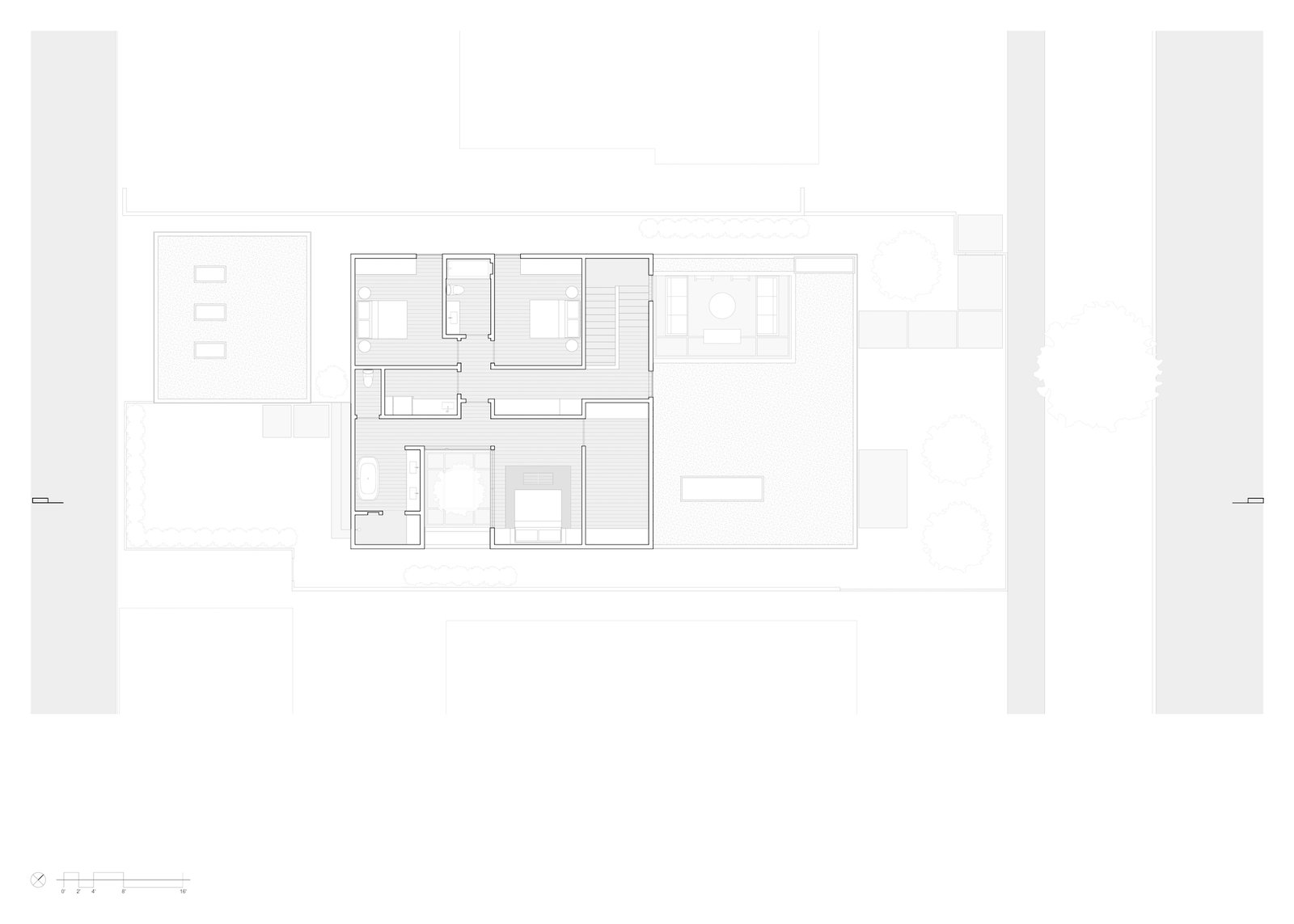 Level-two floor plan of Culver City Case Study House by Woods + Dangaran