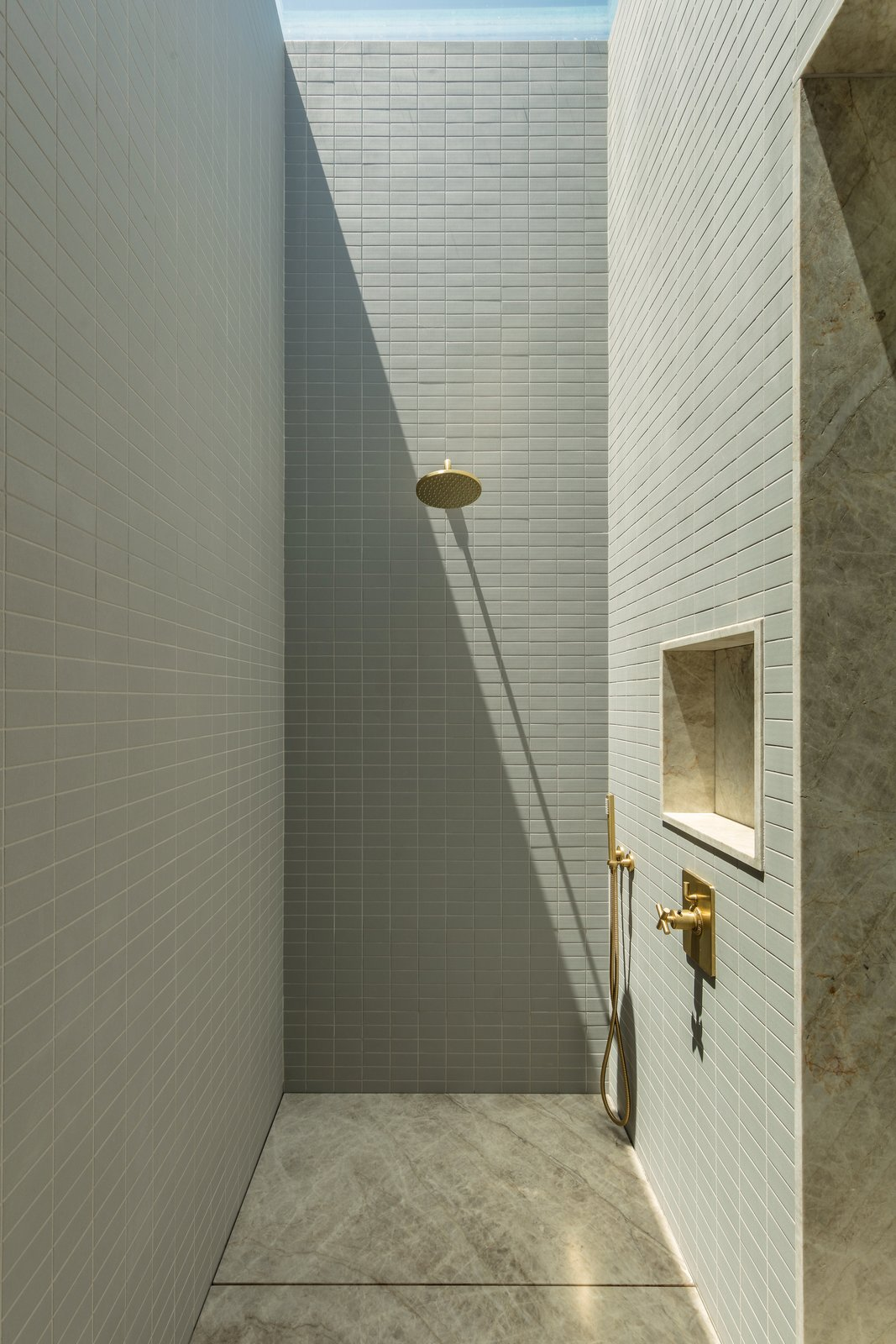 Master shower at Culver City Case Study House by Woods + Dangaran.