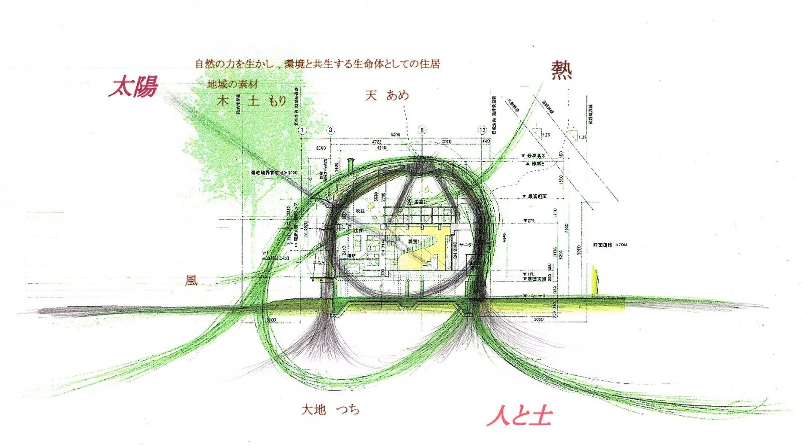Concept drawing of Shell House by Tono Mirai Architects.