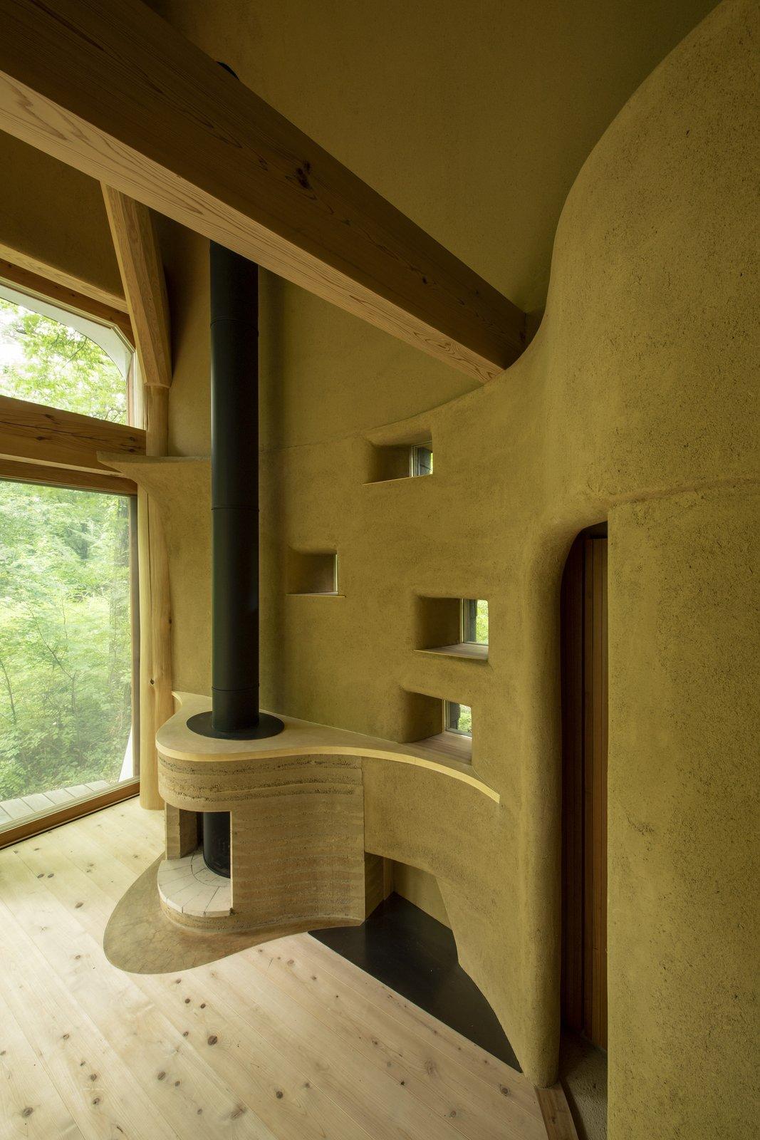Fireplace of Shell House by Tono Mirai Architects.