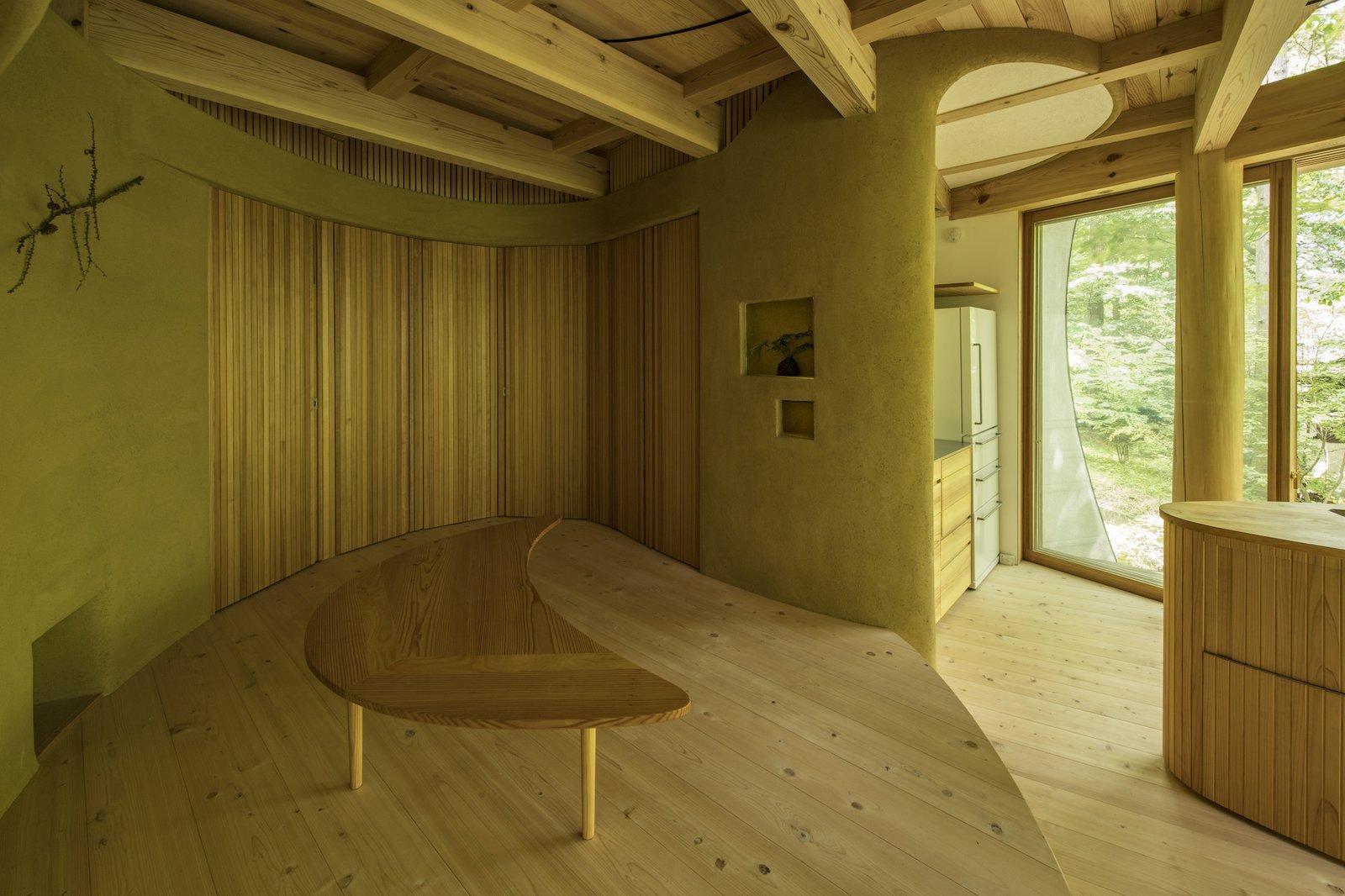 Dining area of Shell House by Tono Mirai Architects.