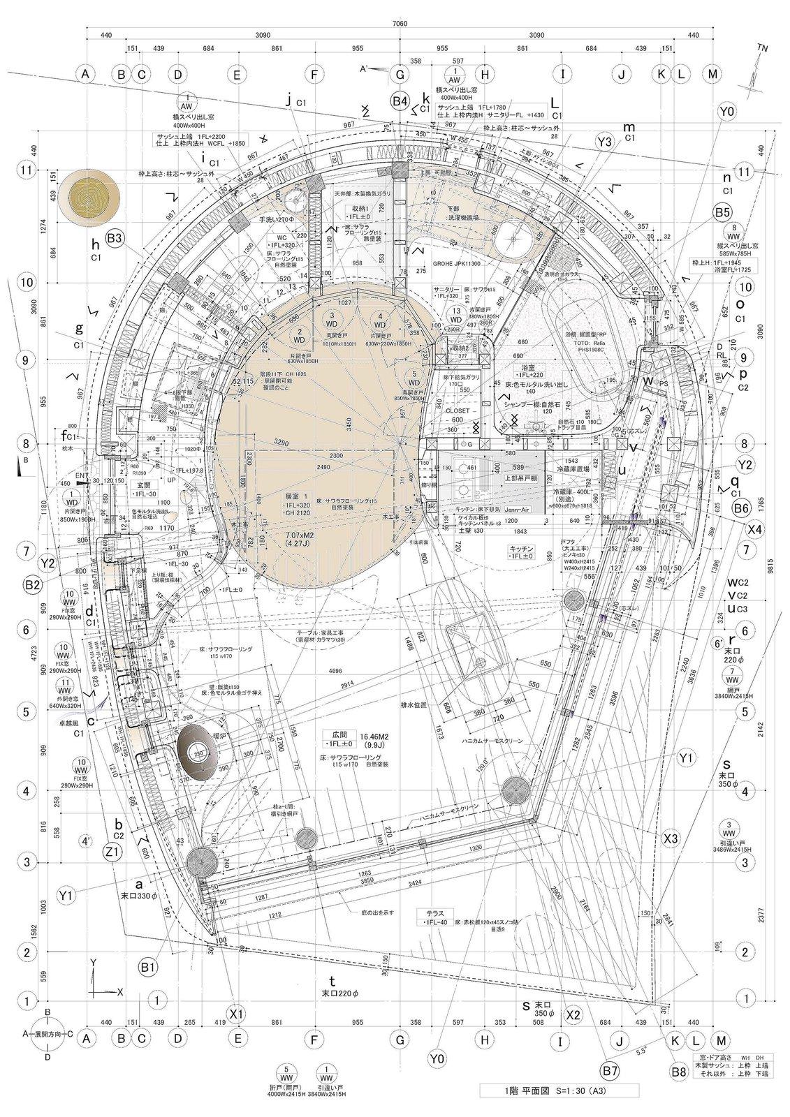 Floor plan of Shell House by Tono Mirai Architects.
