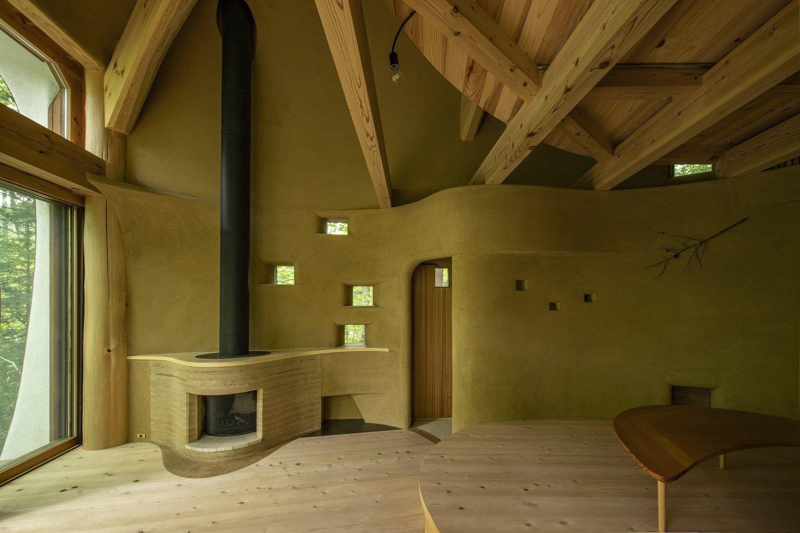 Living area of Shell House by Tono Mirai Architects.
