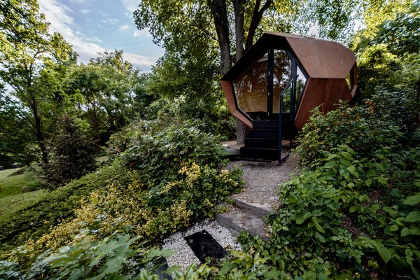 """""""We imagined how six people would use the space and developed the shape accordingly,"""" says Hello Wood cofounder Dávid Ráday. """"We took inspiration from the design of space capsules, and the cabin was refined step by step before reaching its final form."""""""