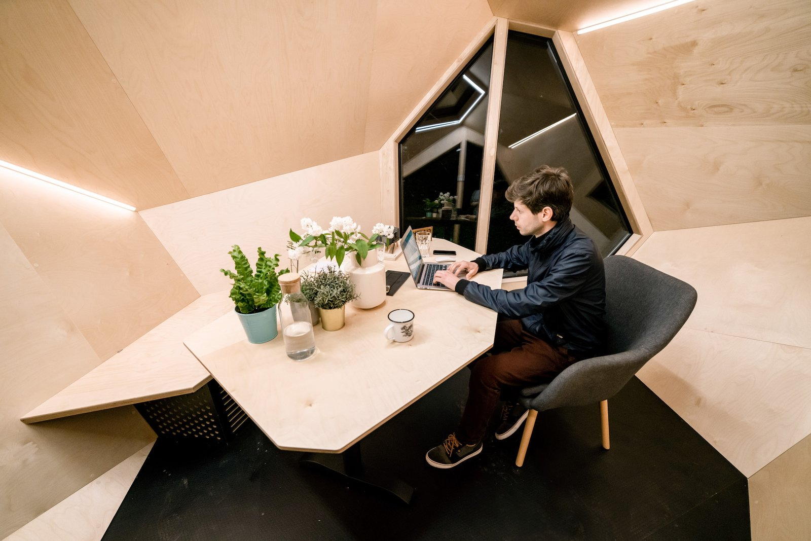Interior of Workstation Cabin by Hello Wood