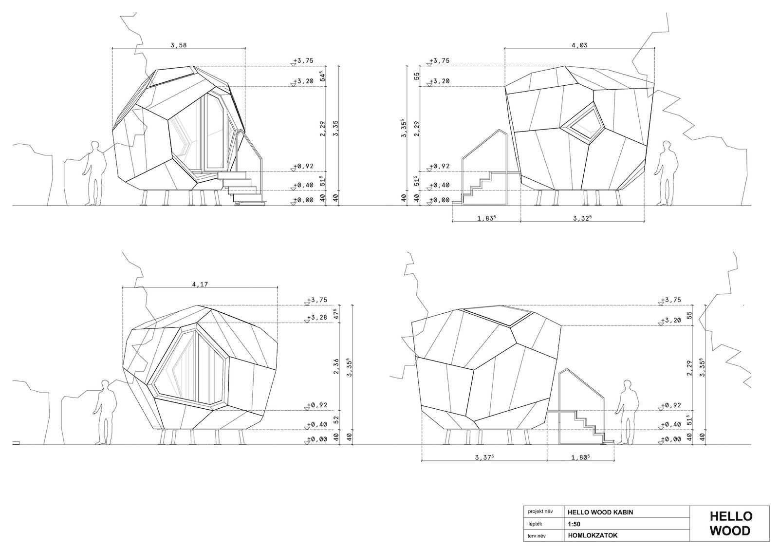 Elevations of Workstation Cabin by Hello Wood