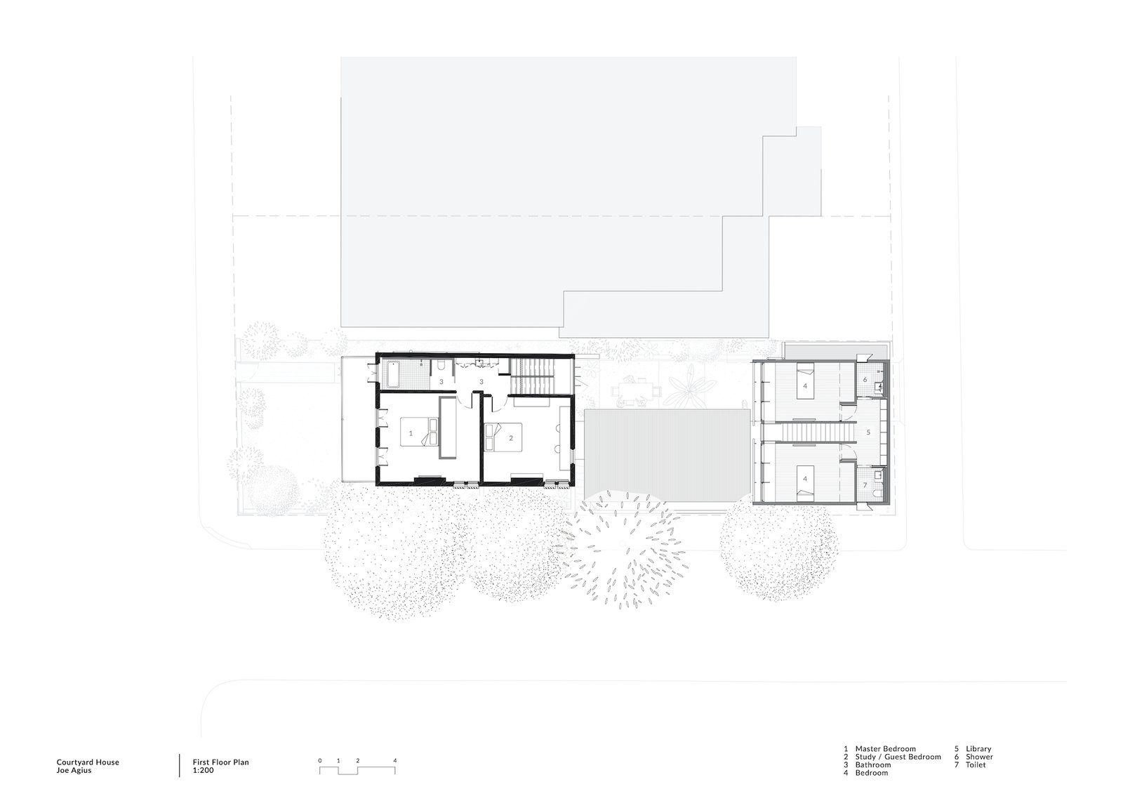 First floor plan of Courtyard House by COX.