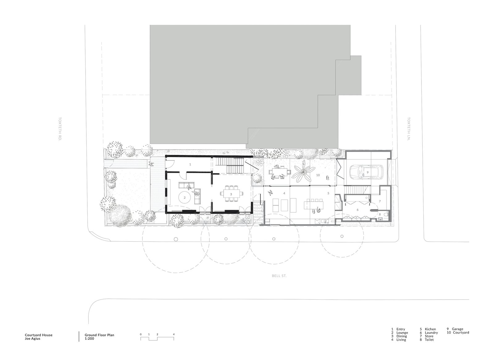 Ground floor plan of Courtyard House by COX.
