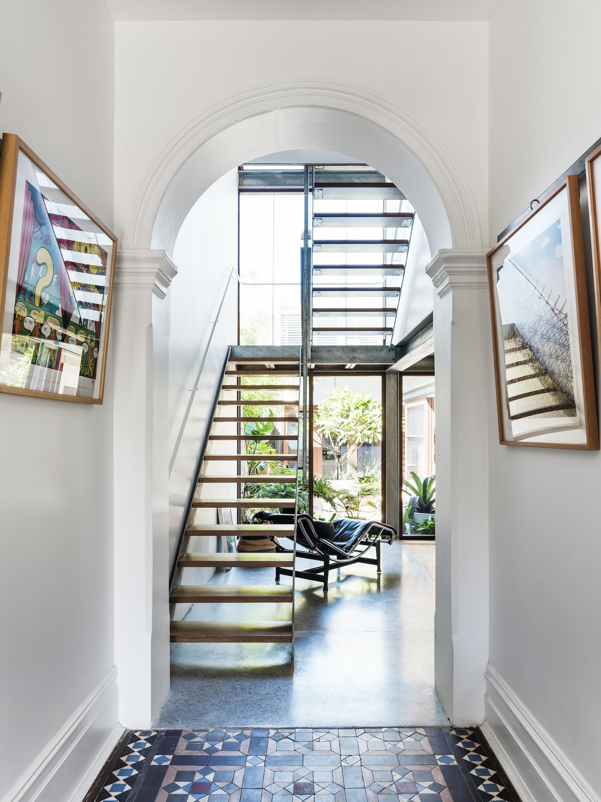 Stairs and hallway of Courtyard House by COX.