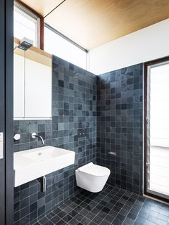 In the rear wing, which is used by the two teenage boys, the bathroom is split into two—a separate toilet and a shower—with a library in the circulation space between.