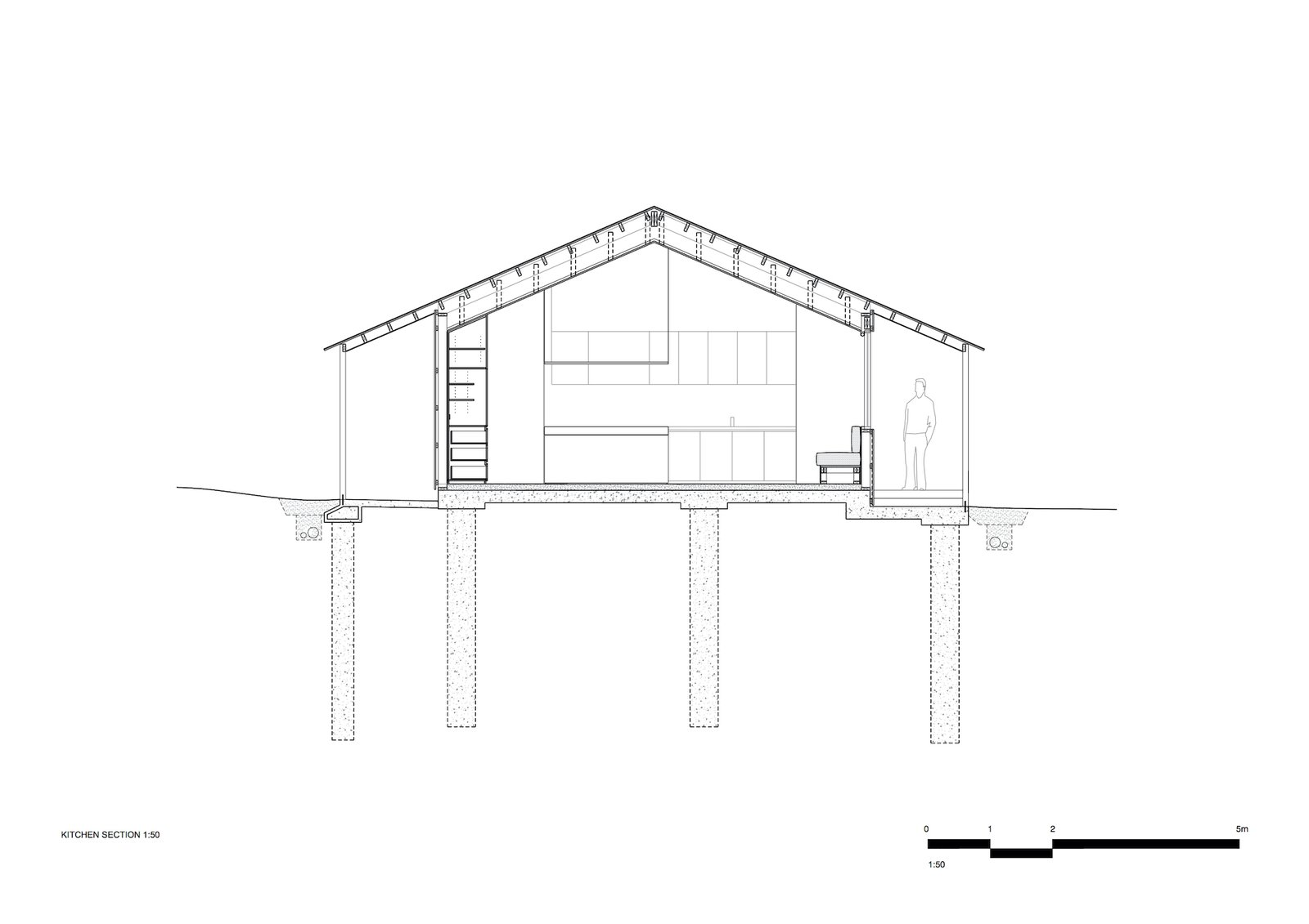 Section through the kitchen of Two Sheds by Dreamer.