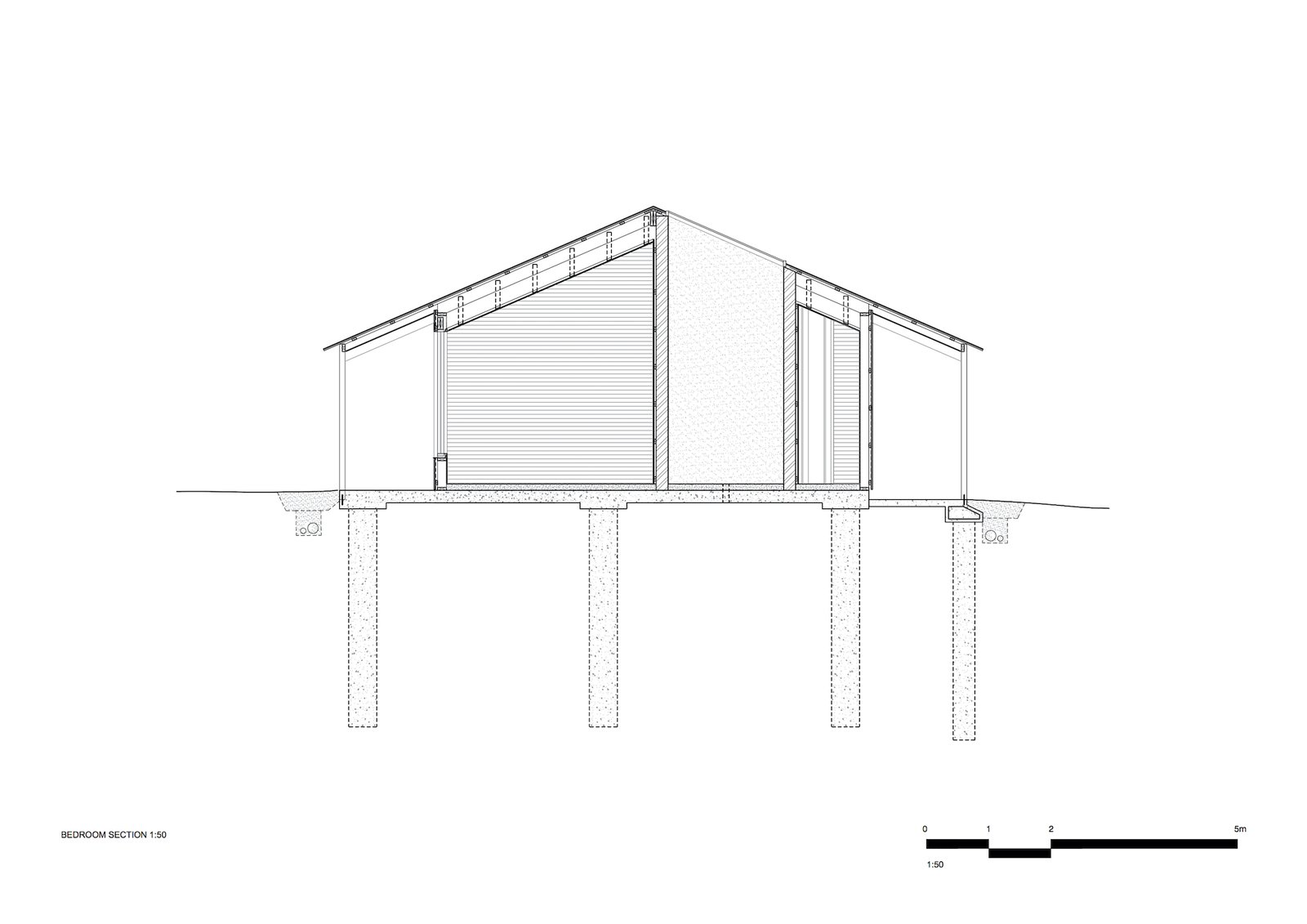 Section through the bedroom of Two Sheds by Dreamer.