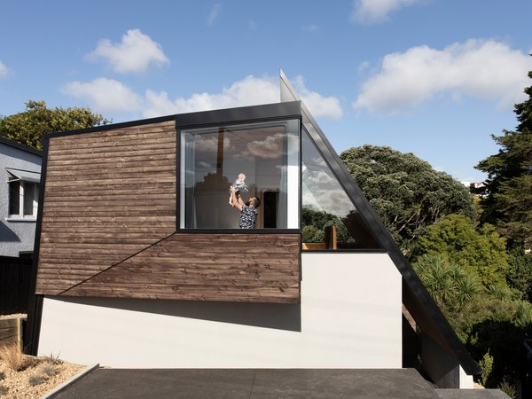 The Douglas fir cladding is from Abodo, and the home is the first project in New Zealand to use iron vitriol to treat timber cladding. The innovative finishing option enhances the natural qualities of the band-sawn timber, creating a striking contrast with the metal cladding.