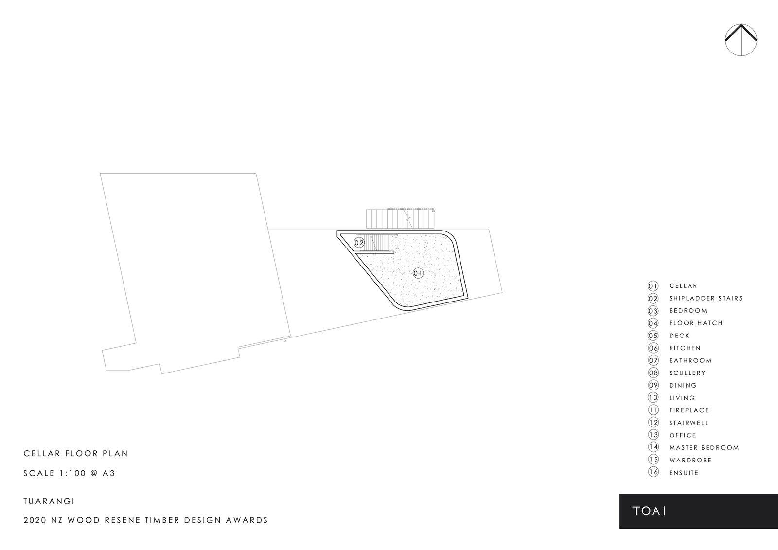 Cellar floor plan of Tuarangi House by TOA Architects.