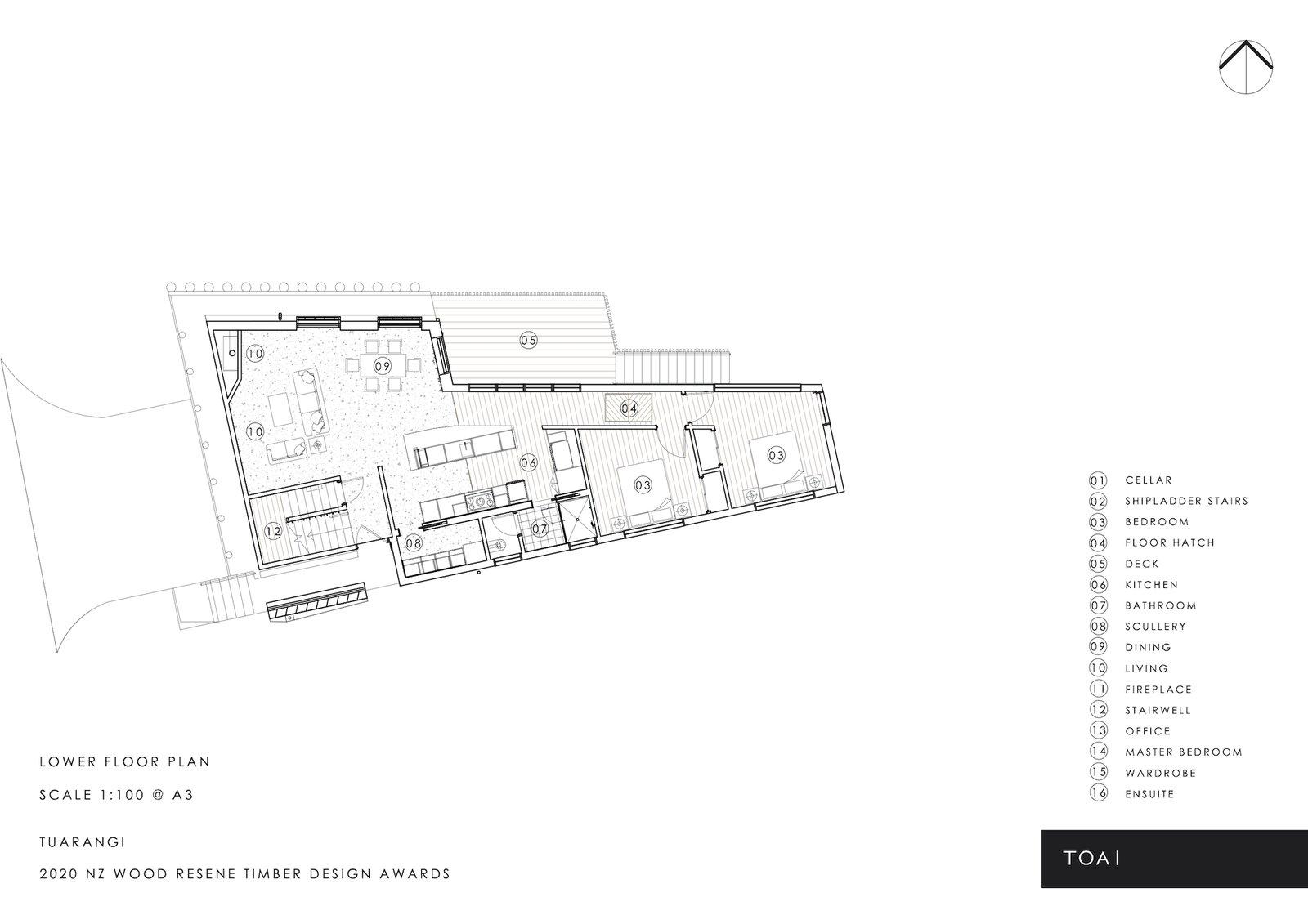 Lower floor plan of Tuarangi House by TOA Architects.