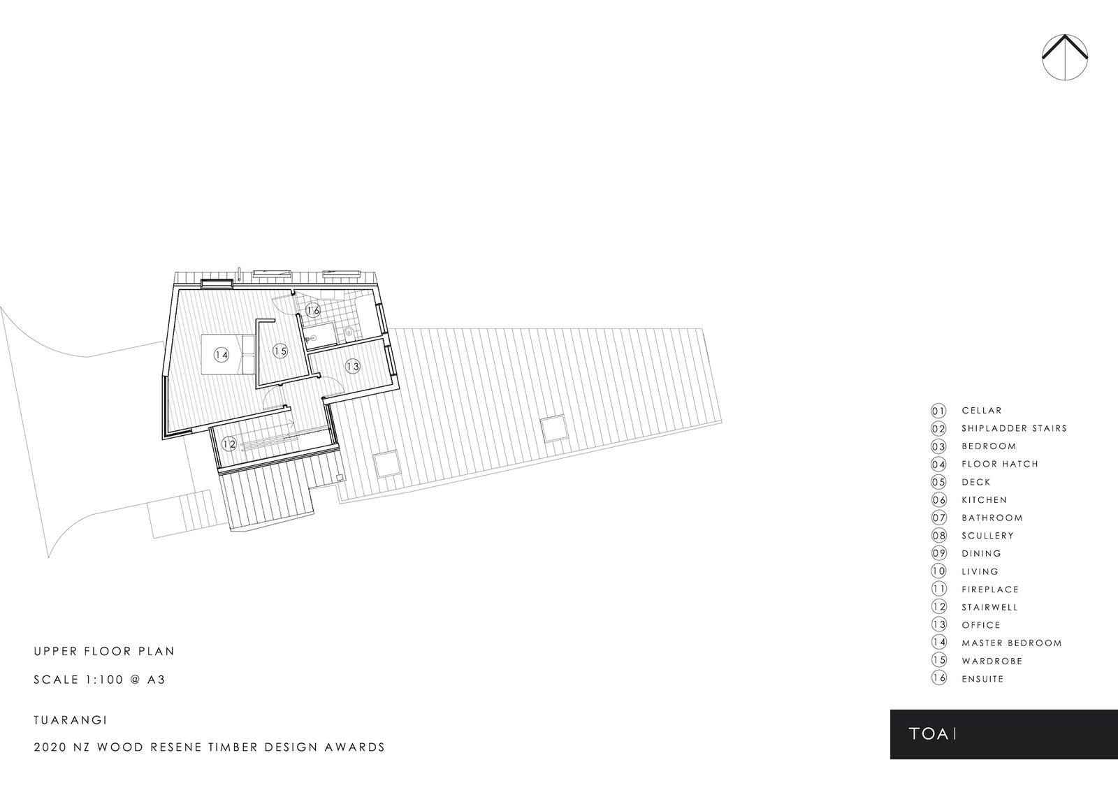 Upper floor plan of Tuarangi House by TOA Architects.