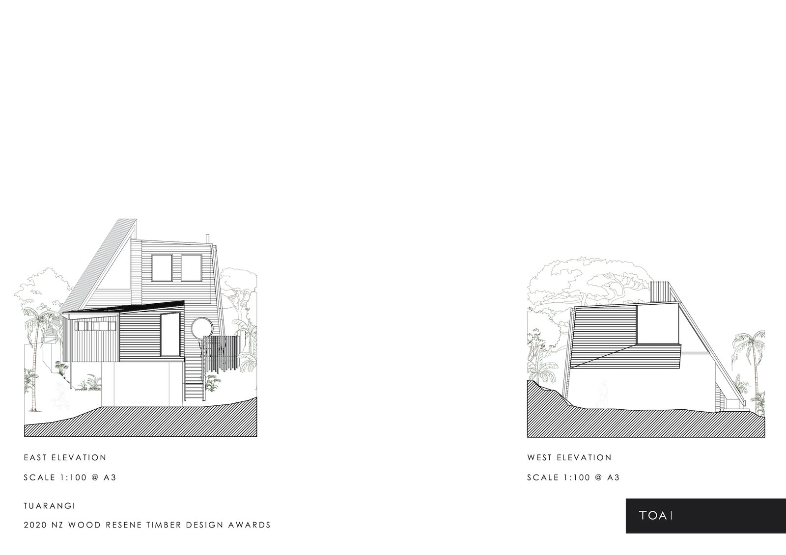 East and west elevations of Tuarangi House by TOA Architects.