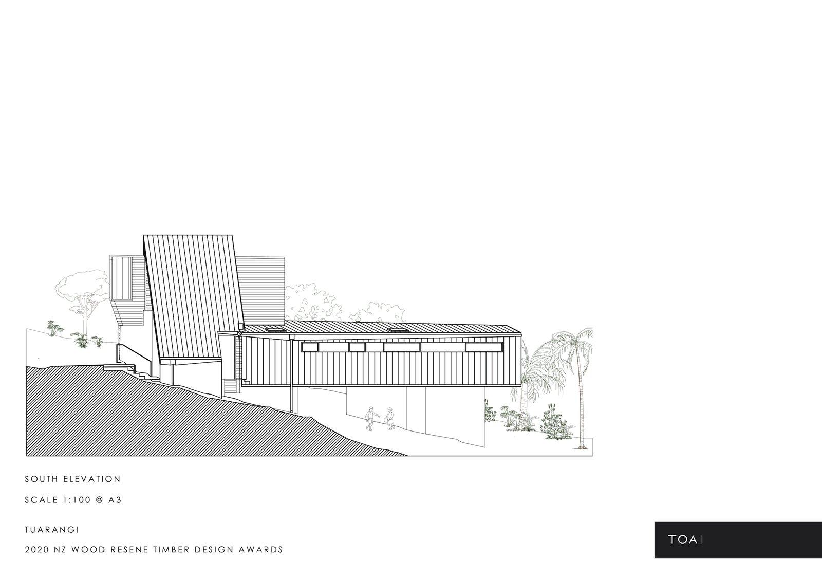 South elevation of Tuarangi House by TOA Architects.